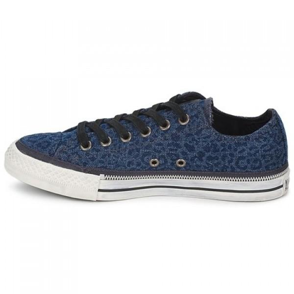 Converse All Star Side Zip Denim Leopard Blue Black Women's Shoes