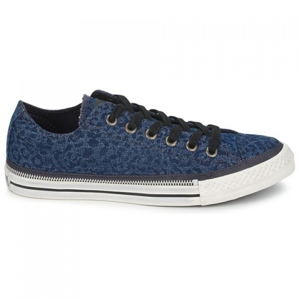 Converse All Star Side Zip Denim Leopard Blue Blac...