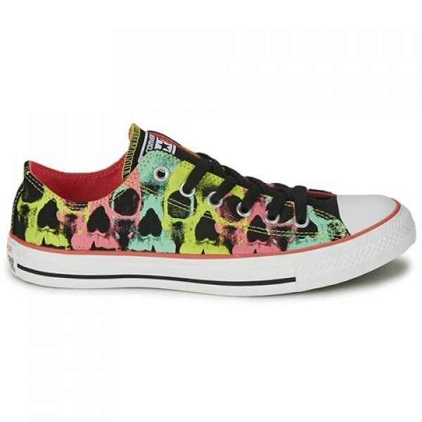 Converse All Star Seasonal Plus Skull Print Ox Black Carnival Pink Women's Shoes