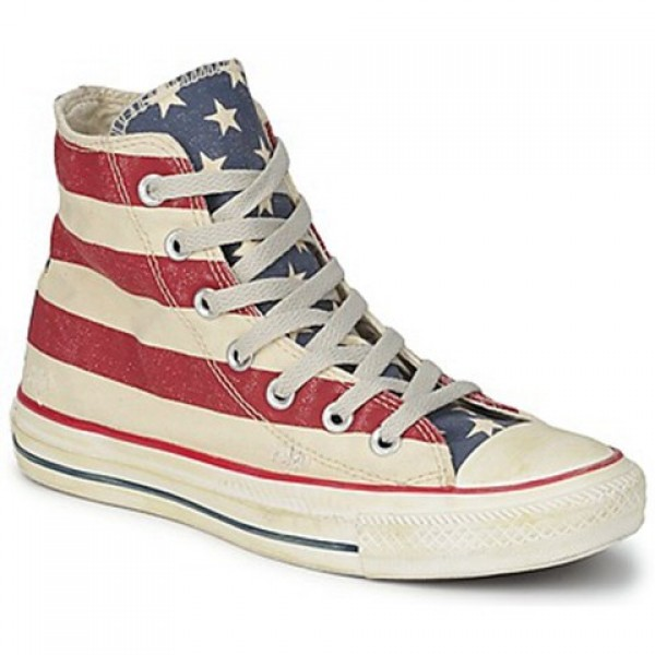 Converse All Star Stars & Bars Vintage Hi White Blue Red Men's Shoes