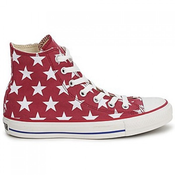 Converse All Star Big Star Print Hi Red White Men's Shoes