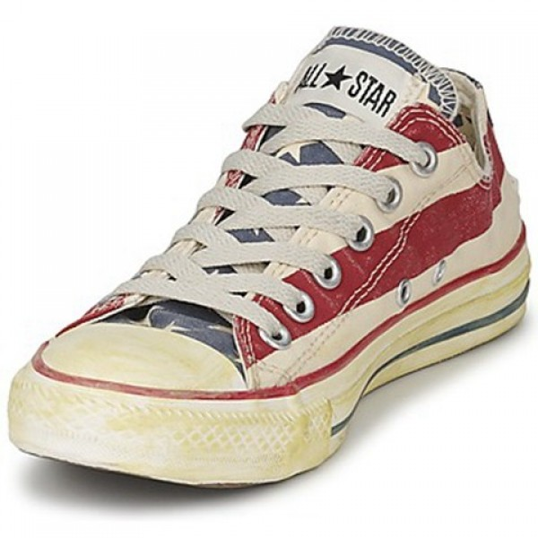 Converse All Star Stars & Bars Vintage Ox White Blue Red Women's Shoes
