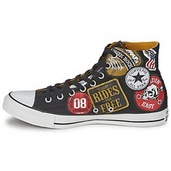Converse All Star Patches Print Hi Black Patches Print Men's Shoes