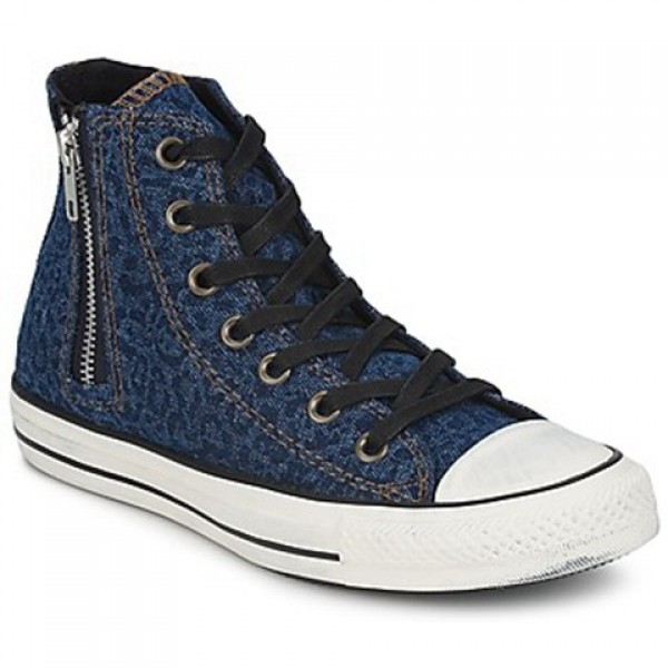 Converse All Star Side Zip Denim Leopard Blue Black Women's Shoes