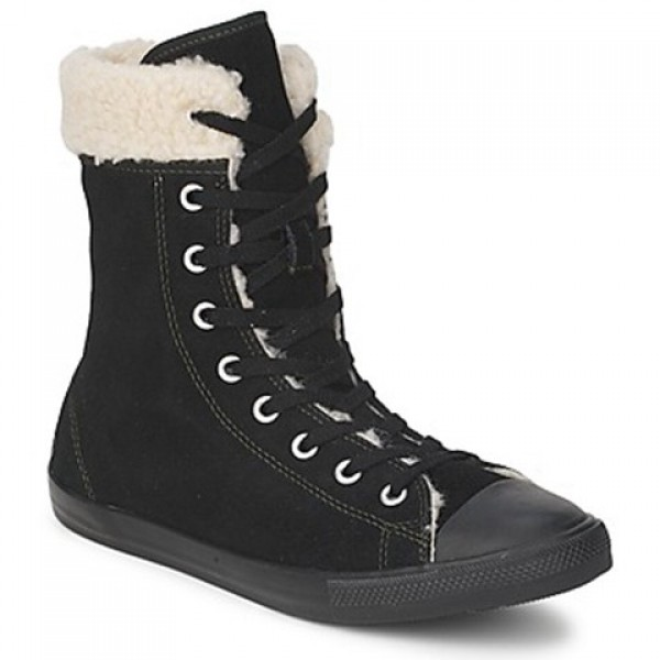 Converse All Star Dainty Shearling Suede X-Hi Black Women's Shoes