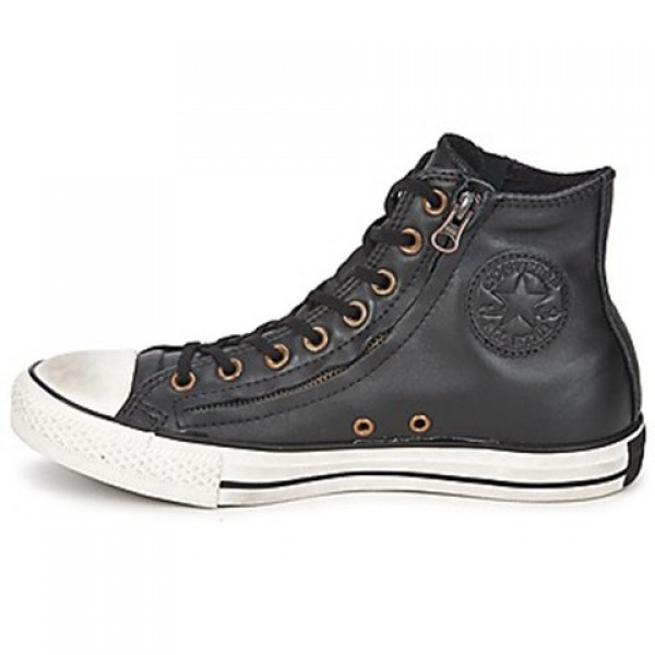 Converse All Star Double Zip Leather Hi Jet Black Women's Shoes