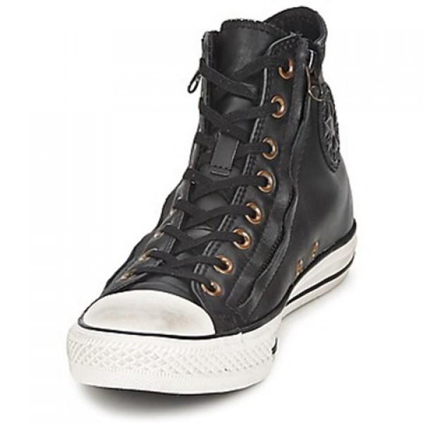 Converse All Star Double Zip Leather Hi Jet Black Women's Shoes