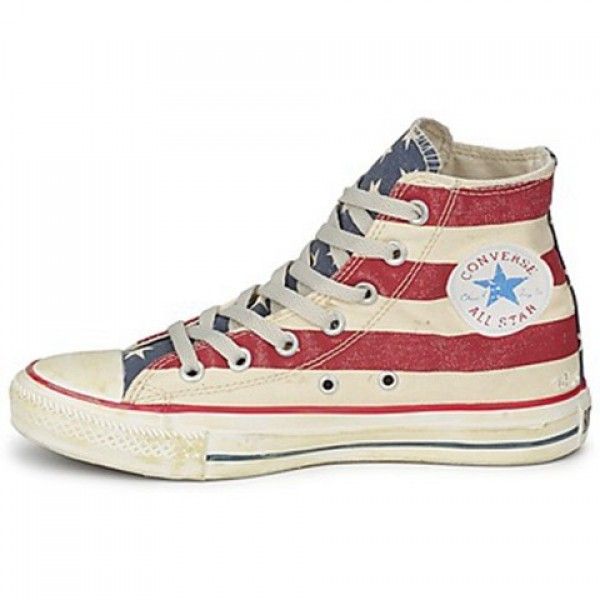 Converse All Star Stars & Bars Vintage Hi White Blue Red Women's Shoes