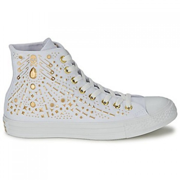 Converse All Star Rhinestone Hardware Hi White Gold Women's Shoes