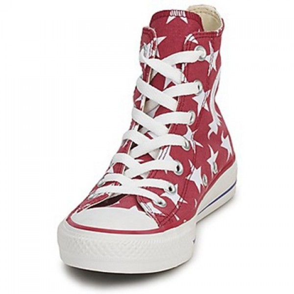 Converse All Star Big Star Print Hi Red White Women's Shoes