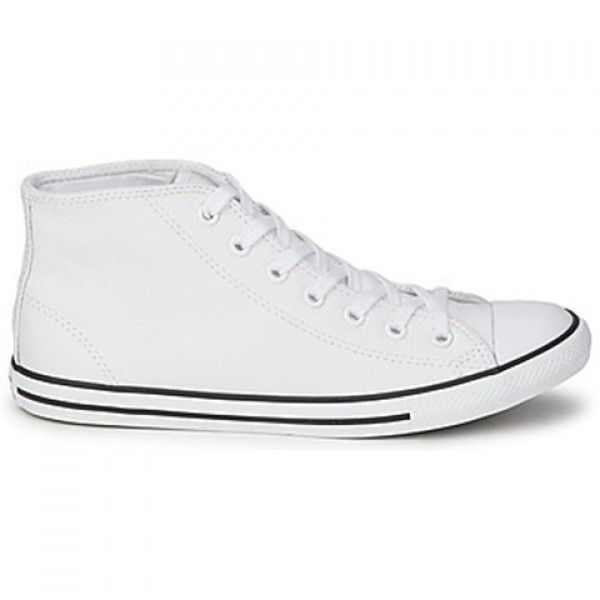 Converse All Star Dainty Leather Mid White Women's...