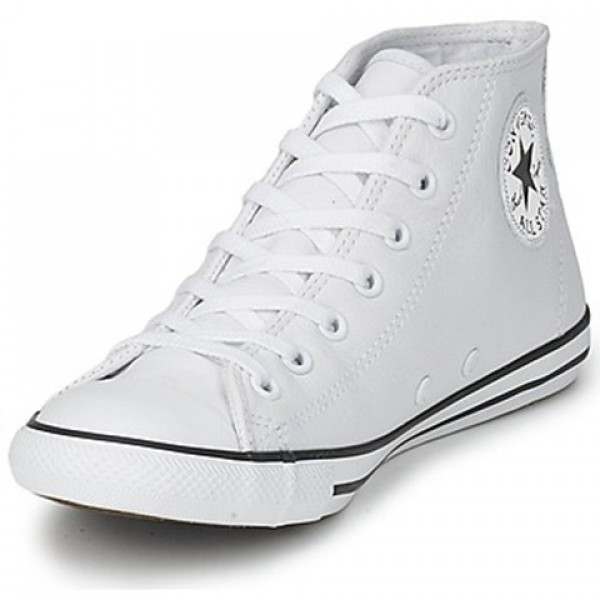 Converse All Star Dainty Leather Mid White Women's Shoes