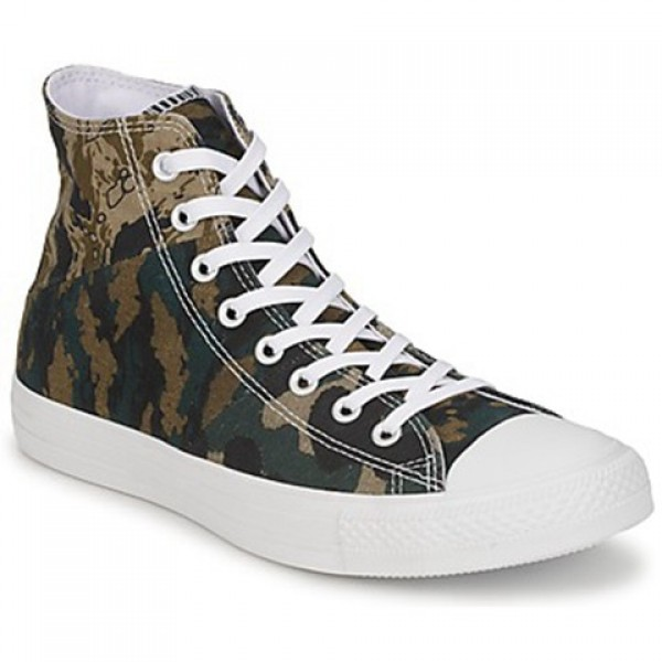 Converse All Star Tri Panel Hi Camo Kaki Green Women's Shoes