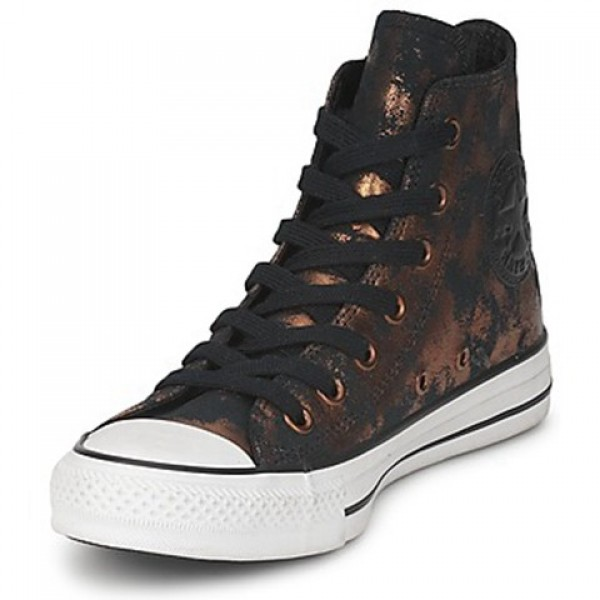 Converse All Star Fashion Leather Hi Gold Black Women's Shoes