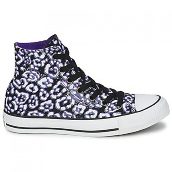 Converse All Star Cheetah Hi Black White Purple Wo...