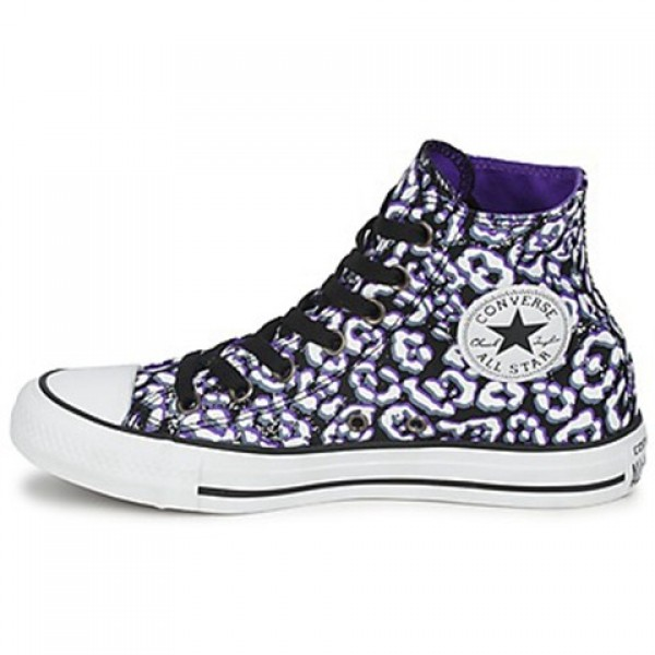 Converse All Star Cheetah Hi Black White Purple Women's Shoes