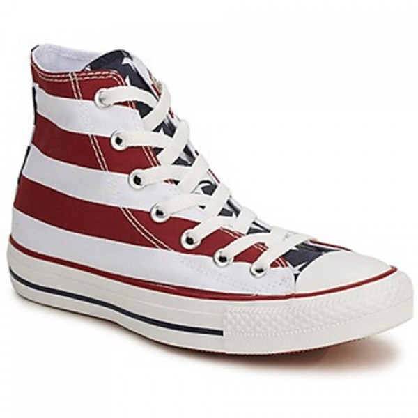 Converse All Star Stars & Bars Hi White Blue Red Women's Shoes