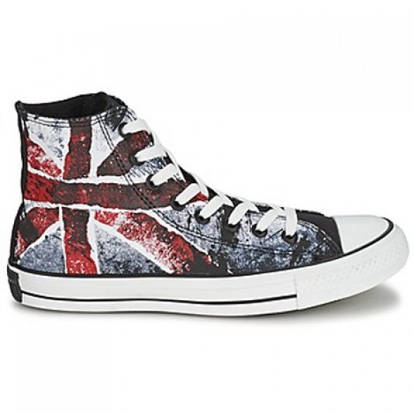 Converse All Star Destroyed UK Flag Hi White Blue Red Women's Shoes