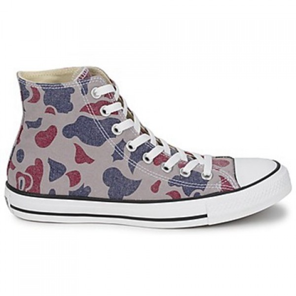 Converse All Star Camo Print Hi Grey Red Blue Wome...