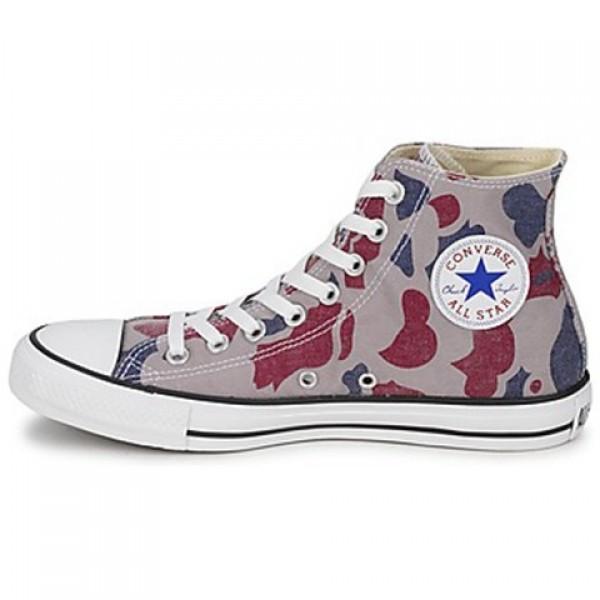 Converse All Star Camo Print Hi Grey Red Blue Women's Shoes