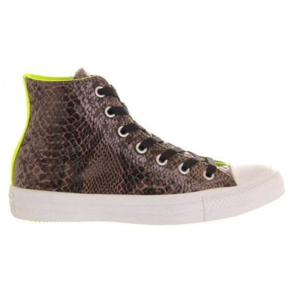 Converse All Star Hi Grey Snake Neon Yellow Unisex Shoes