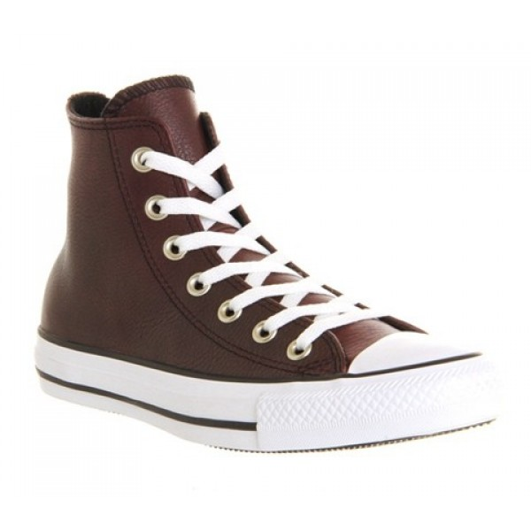 Converse All Star Hi Leather Burgundy Burnished Un...