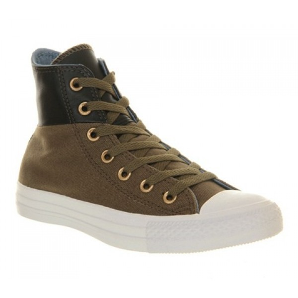 Converse All Star Hi Khaki Black Leather Unisex Sh...