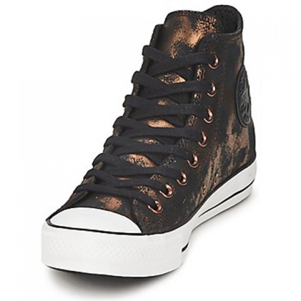 Converse All Star Fashion Leather Hi Rich Gold Jet Black Women's Shoes