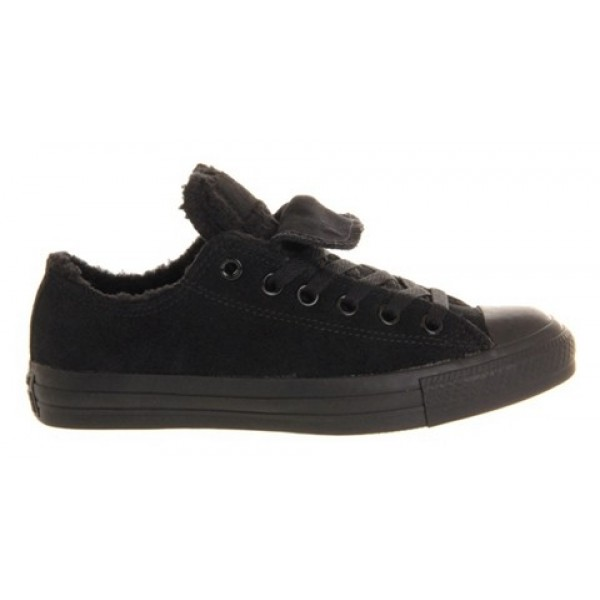 Converse All Star Low Double Tongue Black Mono Shearling Unisex Shoes