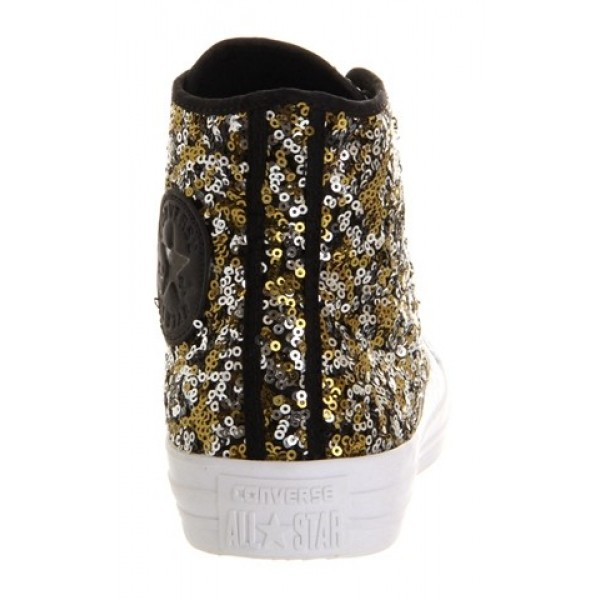 Converse All Star Hi Black Gold Silver Sequin Unisex Shoes