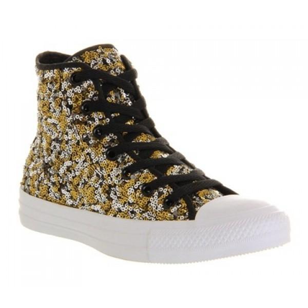 Converse All Star Hi Black Gold Silver Sequin Unis...
