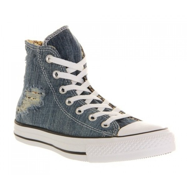 Converse All Star Hi Torn Denim Leopard Unisex Sho...
