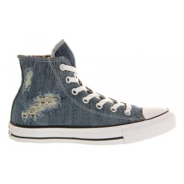 Converse All Star Hi Torn Denim Leopard Unisex Shoes