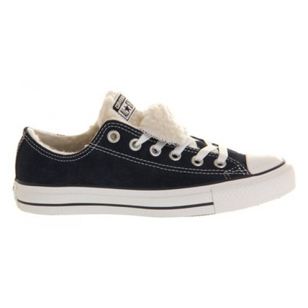 Converse All Star Low Double Tongue Navy Shearling Exclusive Unisex Shoes