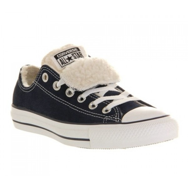 Converse All Star Low Double Tongue Navy Shearling...