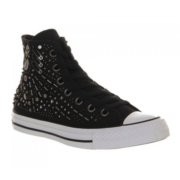 Converse All Star Hi Black Rhinestone Hardware Uni...