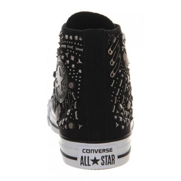 Converse All Star Hi Black Rhinestone Hardware Unisex Shoes