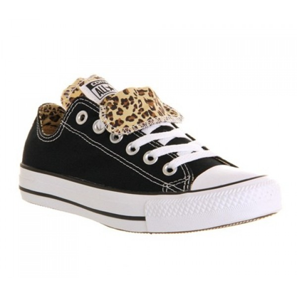 Converse All Star Low Double Tongue Black Leopard ...