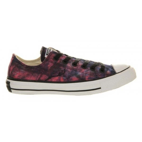 Converse All Star Low Red Radio Blue Tie Dye Unisex Shoes