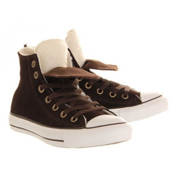 Converse All Star Hi Double Tongue Chocolate Shearling Exclusive Unisex Shoes