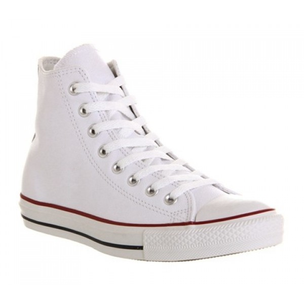 Converse All Star Hi Leather White Leather Unisex ...