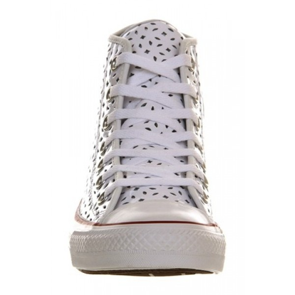 Converse All Star Hi Leather White Garnet Perforated Exclusive Unisex Shoes