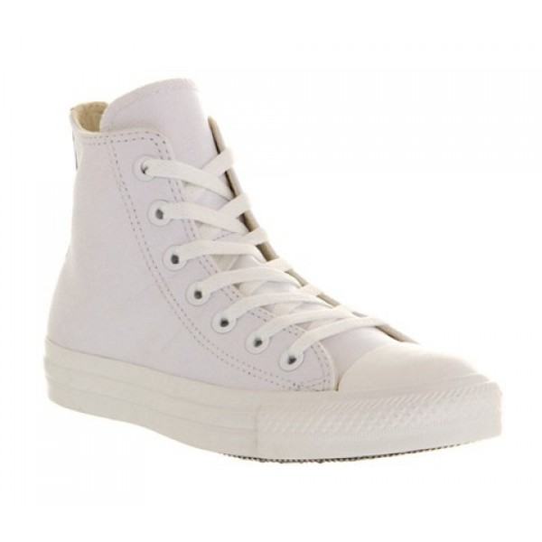 Converse All Star Hi Leather White Mono Unisex Shoes
