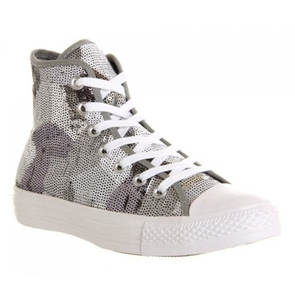 Converse All Star Hi Silver Sequin Exclusive Unise...