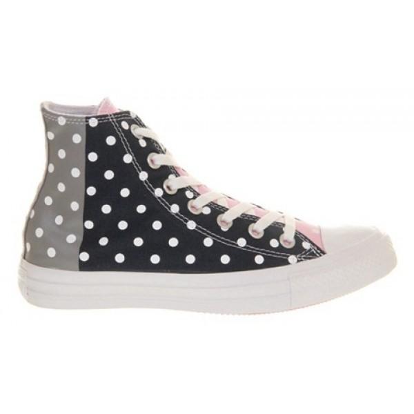 Converse All Star Hi Grey Blue Polka Unisex Shoes