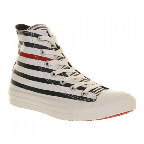 Converse All Star Hi White Navy Red Nautical Unise...