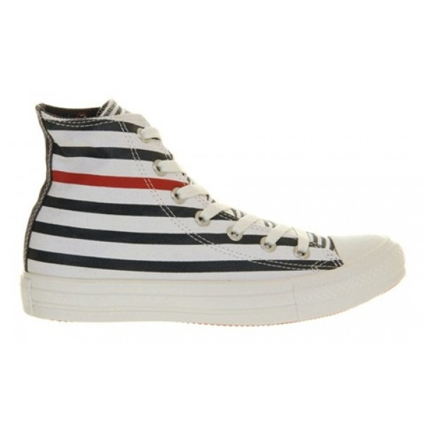 Converse All Star Hi White Navy Red Nautical Unisex Shoes
