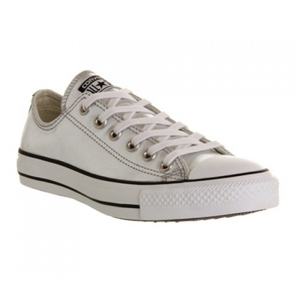 Converse All Star Low Leather Silver Metallic Unis...