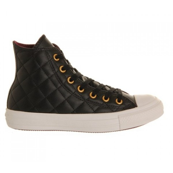 Converse All Star Hi Leather Black Burgundy Quilted Exclusive Unisex Shoes