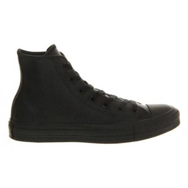 Converse All Star Hi Leather Black Mono Unisex Shoes